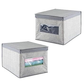 mDesign Juego de 2 cajas para guardar ropa con tapa - Cajas organizadoras grandes de tela - Cajas de almacenaje para armarios - Color: gris: Amazon.es: ...
