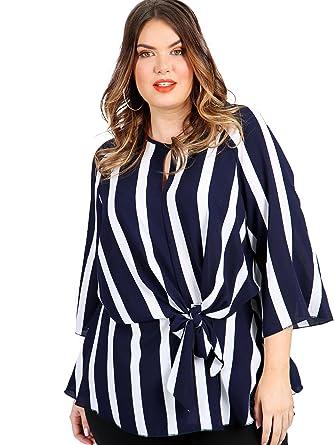 67c7af3185655e Lovedrobe Koko Women s Plus Size Navy Blue Stripe Print Knot Front Blouse  with Keyhole Detail (