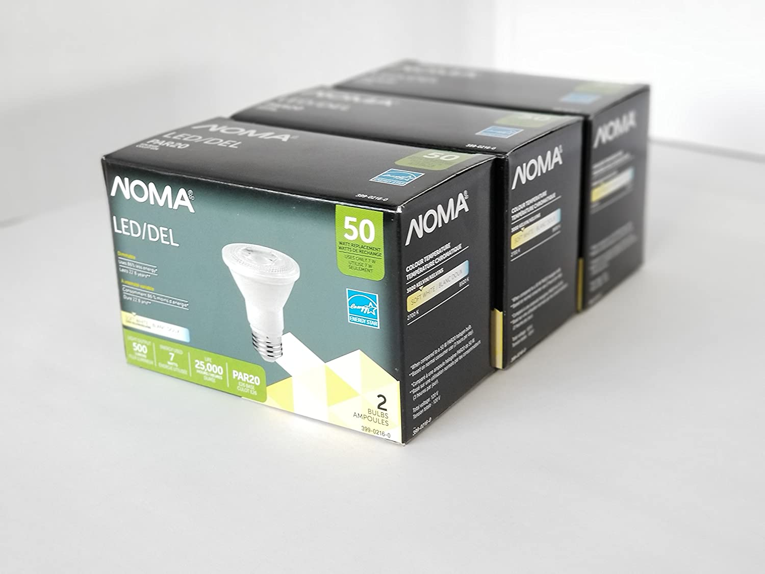 Noma PAR20 LED 50W Soft White Light Bulbs, 6-Pack, Dimmable and Ideal for Track and Recessed Lighting