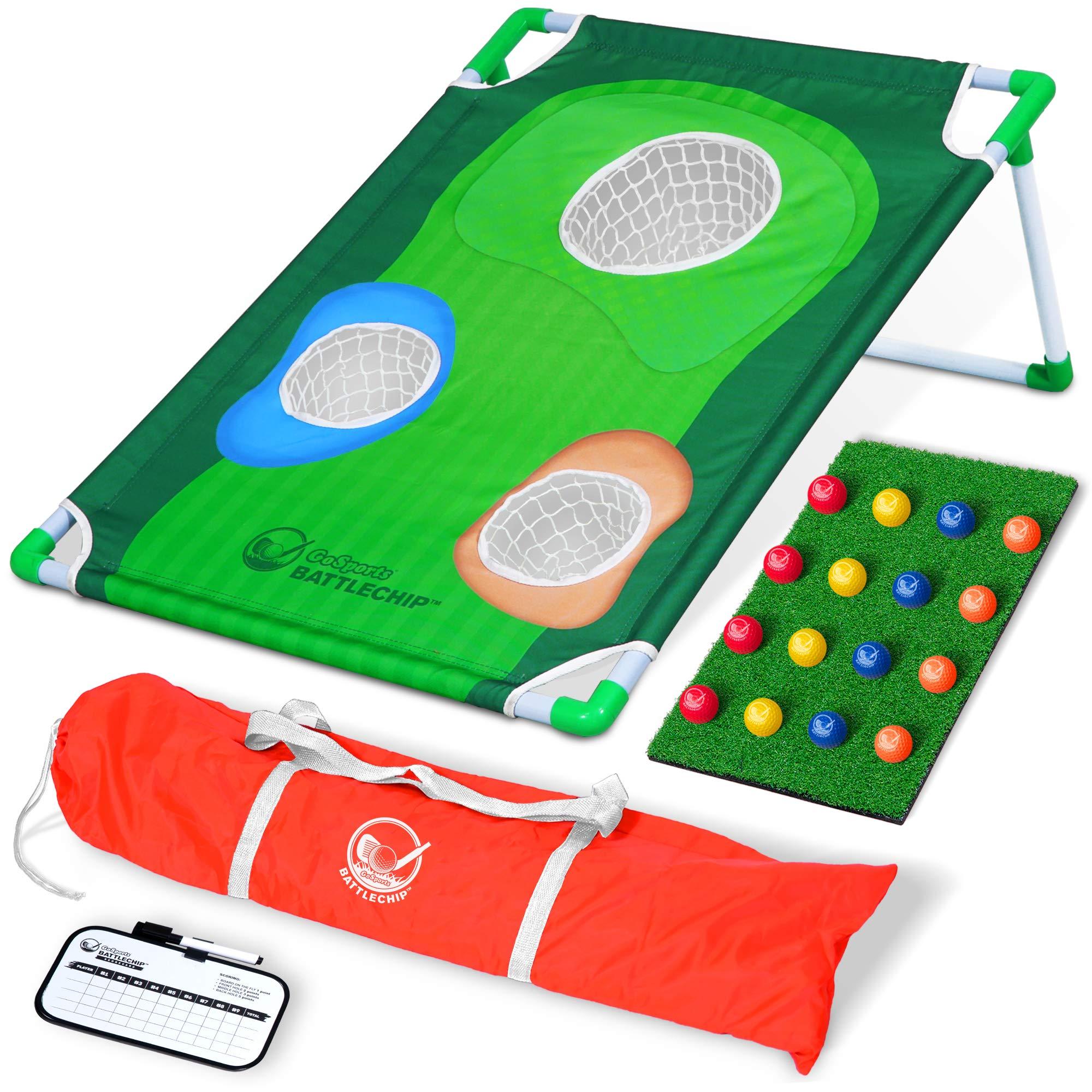 GoSports BattleChip Backyard Golf Cornhole Game   Includes Chipping Target, 16 Foam Balls, Hitting Mat and Carrying Case by GoSports