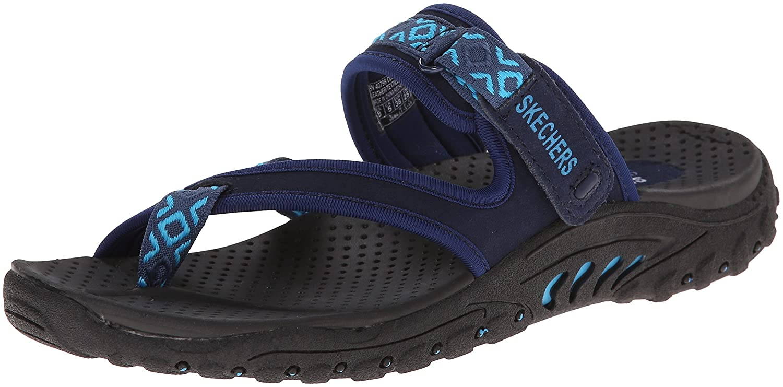 Skechers Women's Reggae-Trailway Slop Sandals Flip-Flop B06VV9Z4RZ 12 B(M) US Navy