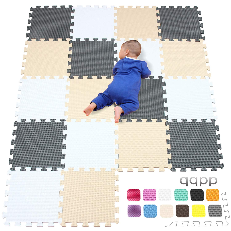 Blanco qqpp Alfombra Puzzle para Ni/ños Bebe Infantil 30*30*1cm Beige Gris.QQC-AJLb18N Suelo de Goma EVA Suave 18 Piezas