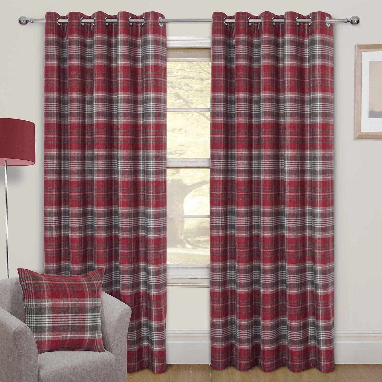Homescapes Ösengardinen Tartan wollähnlich Schottenmuster Rot 2 Stück Vorhang Paar Set 167 x 182 cm