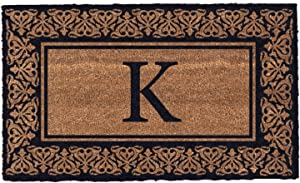 Coco Mats 'N More Black Blooming Hearts Bordered Monogrammed Coco Doormat 22