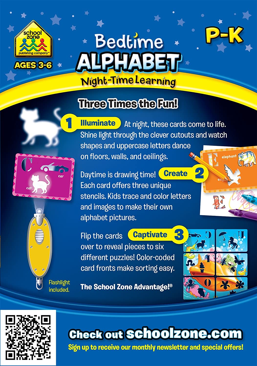 Amazon.com: School Zone Bedtime Alphabet Night-Time Learning, Interactive  Flash Cards: Toys & Games