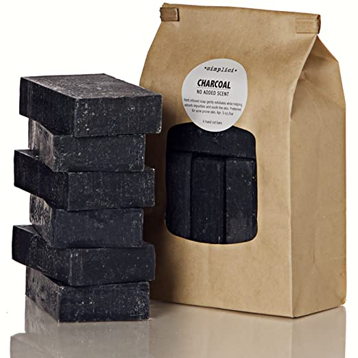 Simplici Activated Charcoal Unscented Bar Soap. Bulk 6 Pack. Palm Oil Free. With 15% Coconut Oil. Acne, Eczema, Psoriasis Safe. Body Wash For Oily Skin - Face, Facial, Hand. Black, Lye Soap 5 Oz Bars.