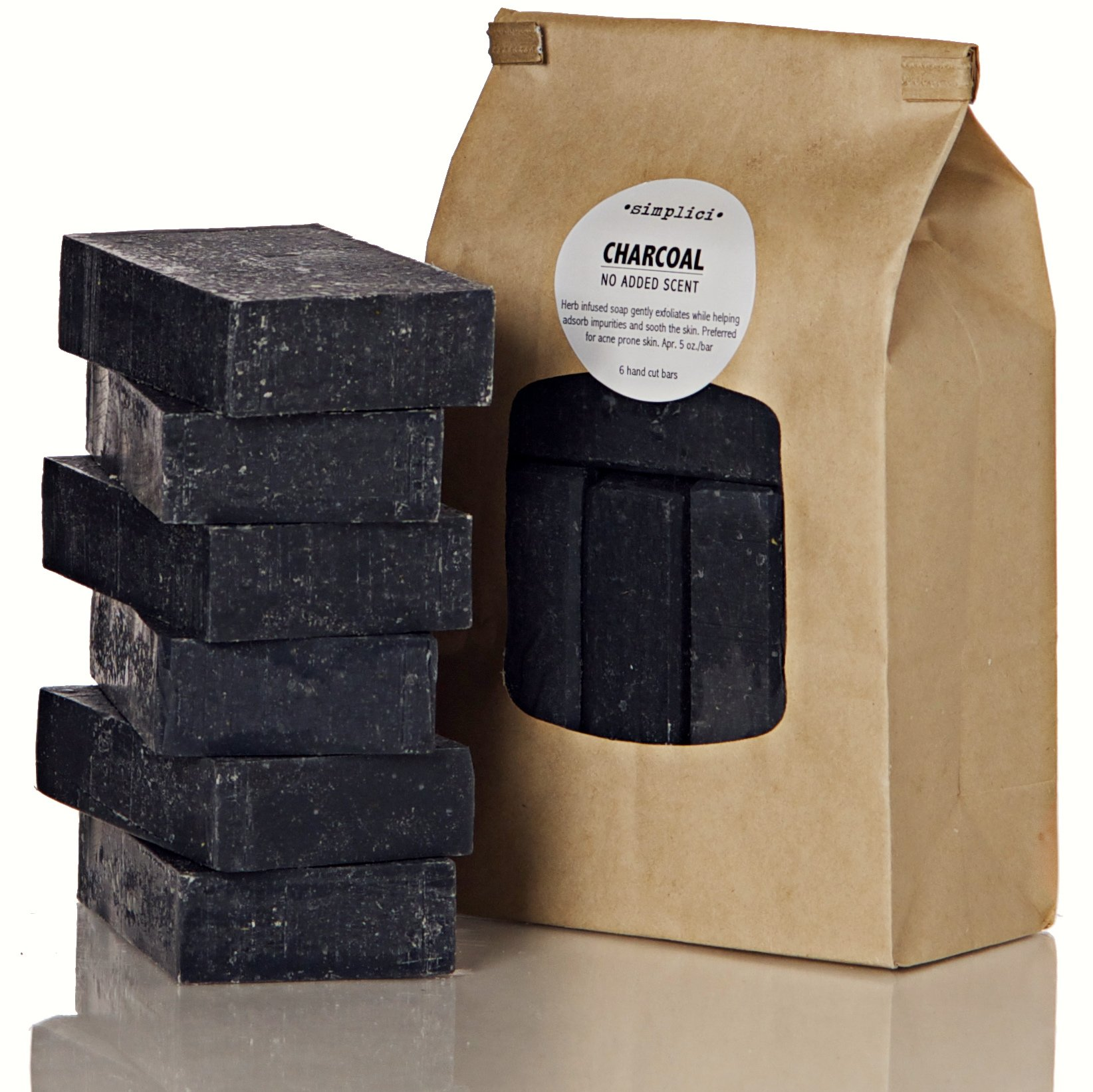 Simplici Activated Charcoal Unscented Bar Soap. Bulk 6 Pack. Palm Oil Free. With 15% Coconut Oil. Acne, Eczema, Psoriasis Safe. Body Wash For Oily Skin - Face, Facial, Hand. Black, Lye Soap 5 Oz Bars. by Simplici (Image #1)