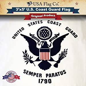 USA Flag Co. US Coast Guard Flag is 100% American Made: The Best 3x5 Outdoor USCG Flags, (Made in USA) for Prime Members and Amazon A to Z Guarantee.