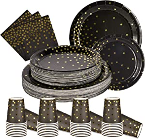 200PCS Disposable Black and Gold Paper Plates and Napkins Cups Sets Black and Gold Party Supplies for Birthday Party Graduation Wedding(50 Dinner Plates 50 Dessert Plates 50 9oz Cups 50 Napkins)