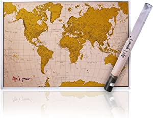 Modern Gold Scratch Off Map, Scratchable World Travel Poster - Wonderful Travelers Gift for Woman, Man and Children, Include Unique Design Tube & Scratch Pen - Great Home & Room Wall Decor