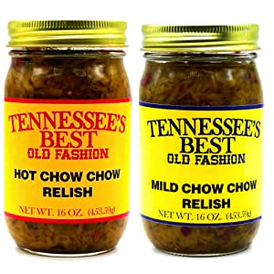 Tennessee's Best Old Fashion Chow Chow Relish (1-Mild and 1-Hot) 2 Pack | Handcrafted in Small Batches with Simple Ingredients | All Natural, Gluten-free, Produce in a Jar - 16 oz Jar (454 g)