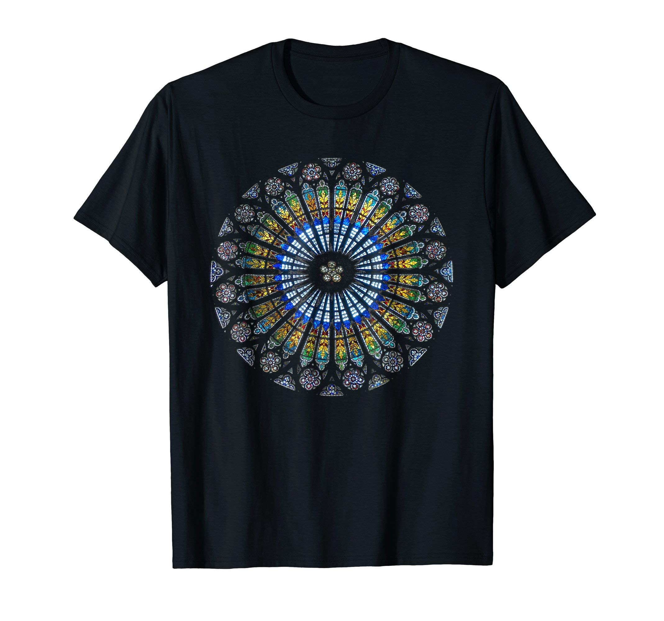 Mens Strasbourg Cathedral France Mandala Stained Glass Window Art 3XL Black