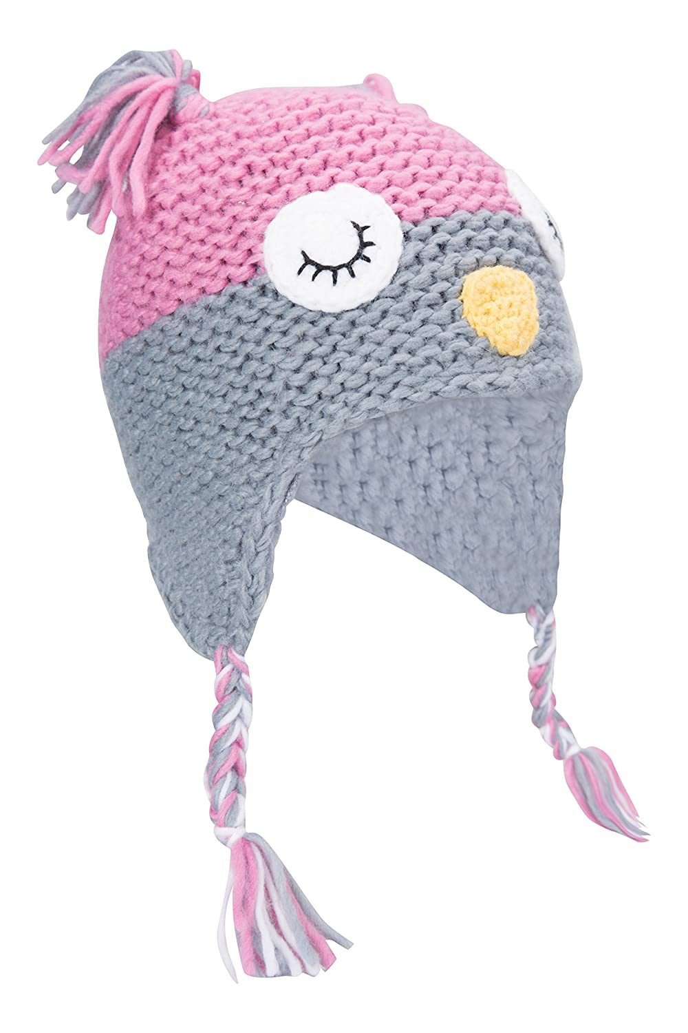 437380d1062404 Mountain Warehouse Owl Knitted Kids Hat - Easy Care & Fleece Lining -  Perfect for Keeping Your Little Ones' Heads Happy This Winter Pale Pink:  Amazon.co.uk: ...