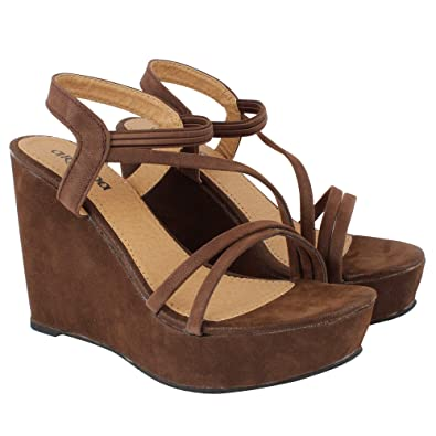 0f3ec7fa91c Elite Factory Women Brown Heels Sandal  Buy Online at Low Prices in India -  Amazon.in