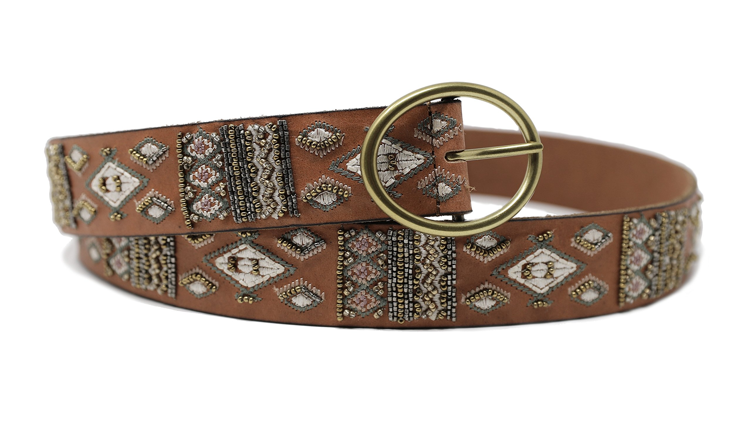 Lucky Brand Women's Beaded Brown Leather Belt (Large)
