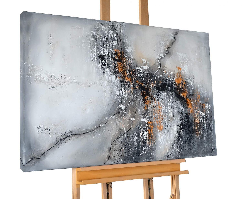 KunstLoft® Acryl Gemälde 'Cracking Concrete' 120x80cm   original handgemalte Leinwand Bilder XXL   Abstrakt Grau Schwarz Orange Linien   Wandbild Acrylbild moderne Kunst einteilig mit Rahmen