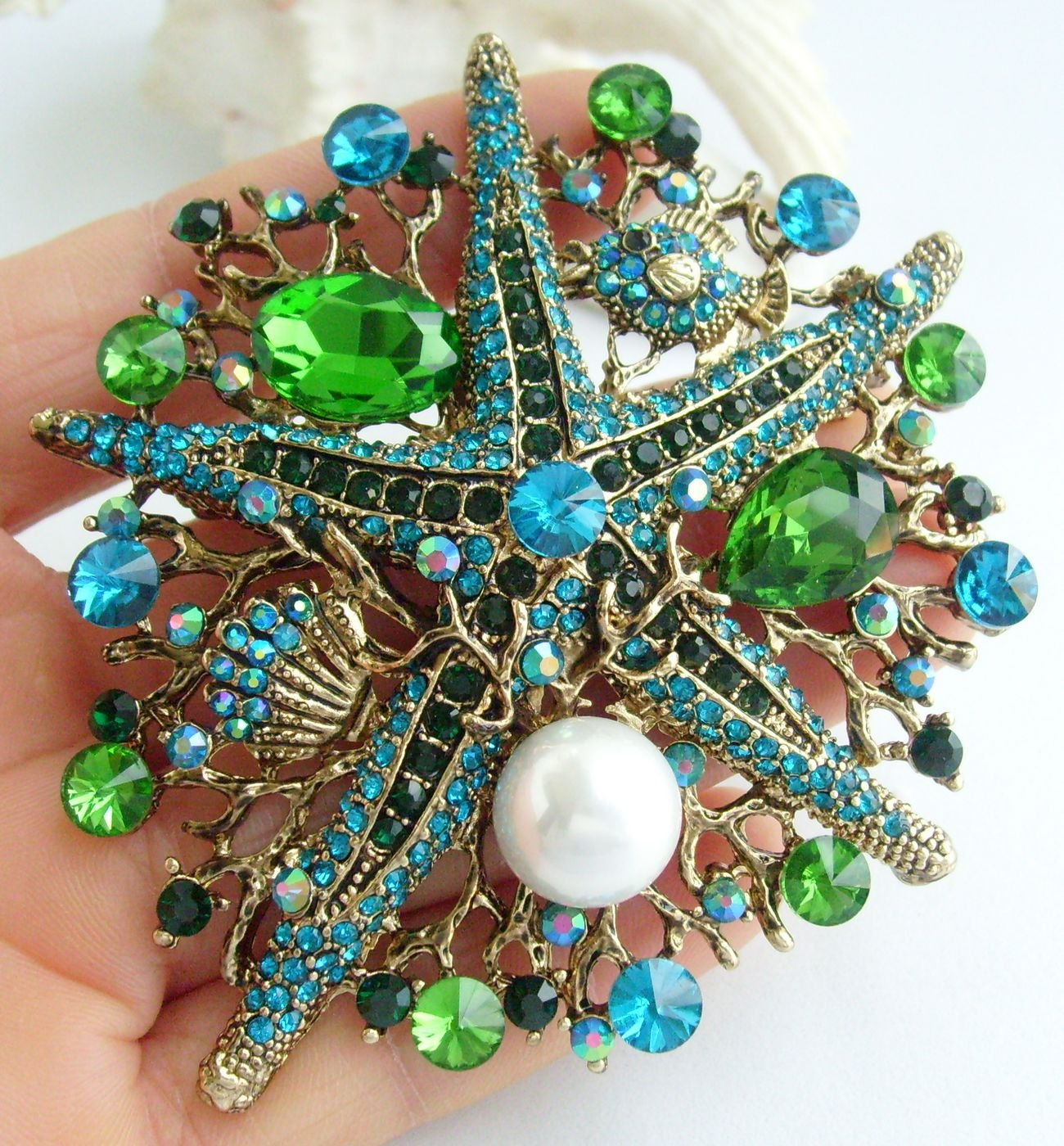 Sindary 3.15'' Starfish Brooch Pin Austrian Crystal Pendant BZ6412 (Gold-Tone Green) by Sindary Jewelry (Image #2)