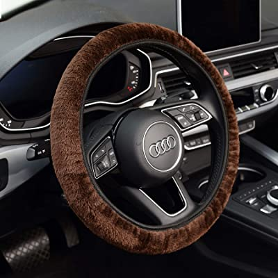 KAFEEK Long Microfiber Plush Steering Wheel Cover for Winter Warm, Universal 15 inch, Anti-Slip, Odorless, Brown: Automotive