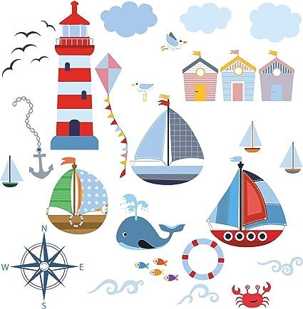 Etiqueta de la pared Pegatinas de pared mar océano barcos veleros barcos linterna de mar pescado Pegatinas para niños Habitación para niños salón jardín de la infancia escuela decoración Sala de estar: