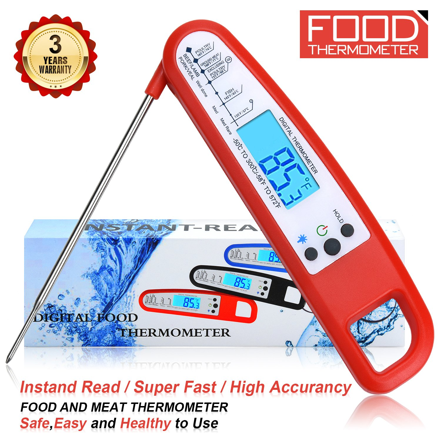 Meat Thermometer Food Thermometer Instant Read Thermometer Cooking Thermometer Grill Thermometer BBQ Thermometer High Accuracy Kitchen Thermometer Digital Thermometer (Red288)