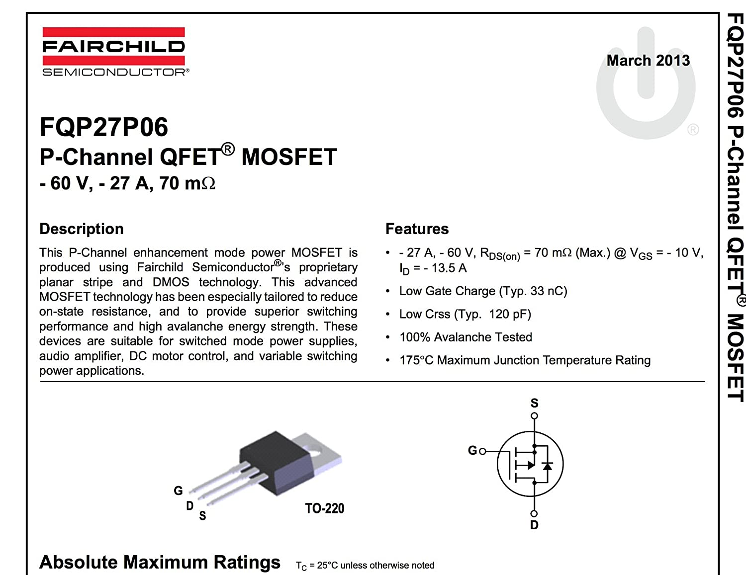 FAIRCHILD SEMICONDUCTOR FQP27P06 P CHANNEL MOSFET, -60V, 27A, TO-220 (10  pieces)