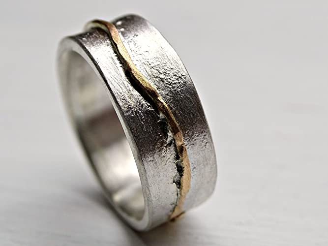 Cool Wedding Rings.Amazon Com Rustic Wave Ring Gold Silver Cool Wedding Band