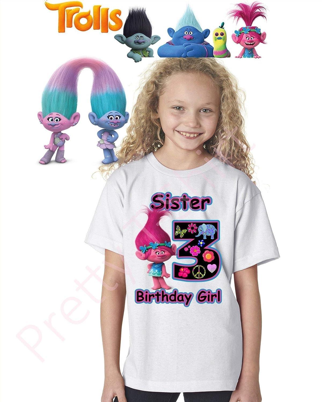Trolls Birthday Shirt, Add Any Name and Any Age, Birthday Girl Shirt,  Family Matching Shirts, Girl Trolls, Trolls Shirts, Girl Shirts, Girl's  Birthday