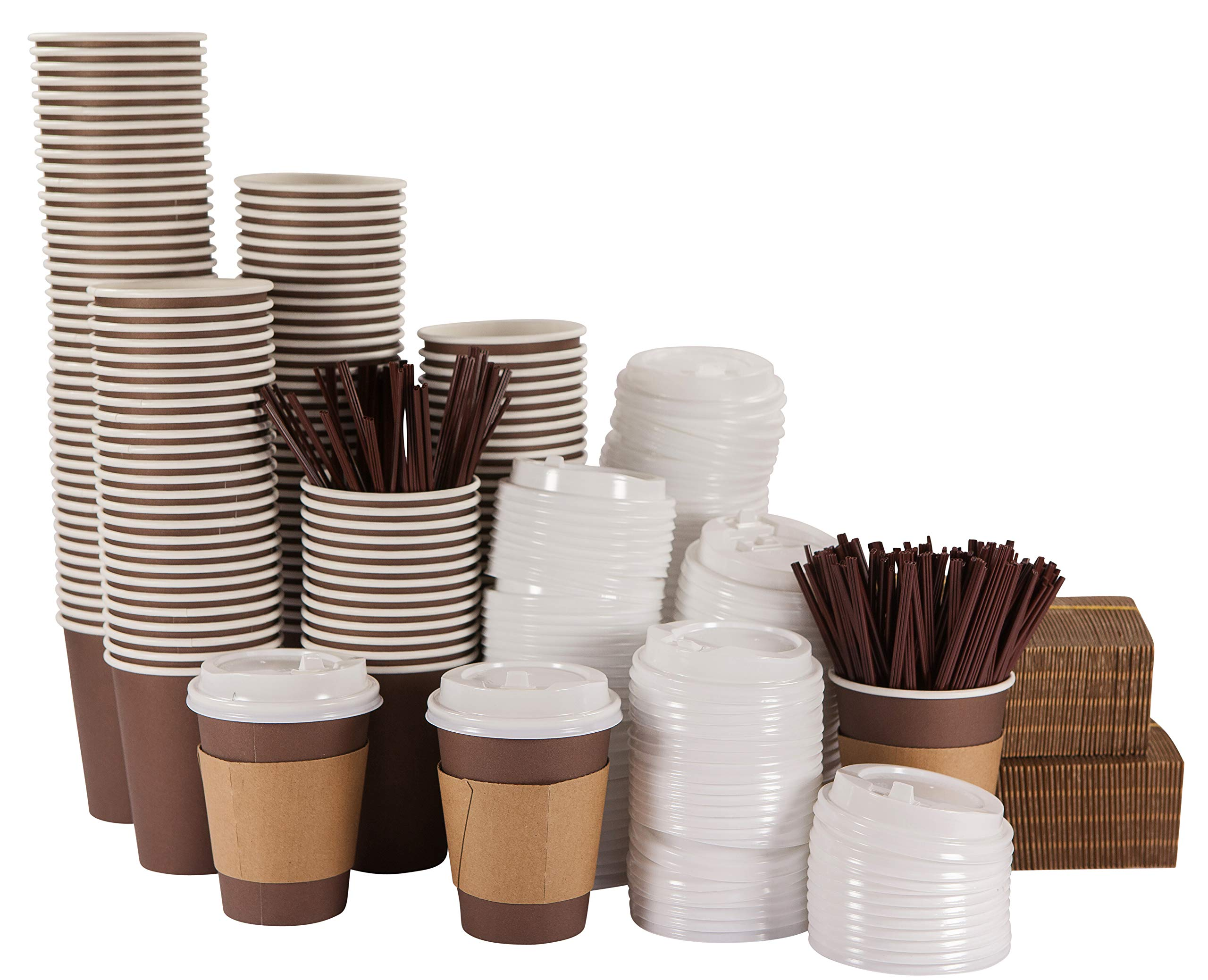 bilubah 140 Pack - 12 Oz Disposable Hot Paper Coffee Cups with Lids, Sleeves and Stirring Straws - Complete Supply for Offices, Restaurants, Coffee Shops, Parties, Home and All the People on the Go