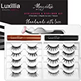 Luxillia (Brown + Black) Magnetic Eyelashes with Eyeliner Kit, Most Natural Look Eye Lashes Pack, Accents + Full Lash, Best E
