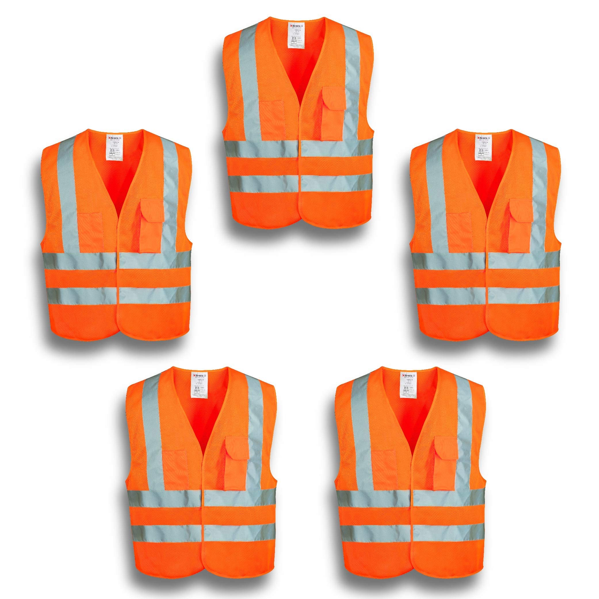 XSHIELD XS0006,High Visibility Mesh Safety Vest with Silver Stripe,ANSI/ISEA 107-2015 Type R Class2 Not FR,Pack of 5 (XL, Orange) by X-Shield (Image #1)