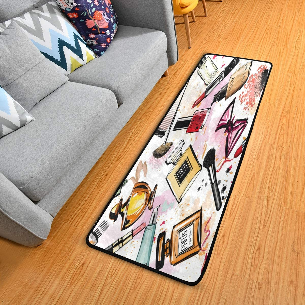 ALAZA Fashion Lipstick Perfume Watercolor Collection Area Mat Rug Rugs for Living Room Bedroom Kitchen 2 x 6
