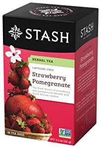 Stash Tea Strawberry Pomegranate Red Tea 18 Count Tea Bags in Foil (Pack of 6) Individual Red Tea Bags, Use in Teapots Mugs or Cups, Brew Hot Tea or Iced Tea