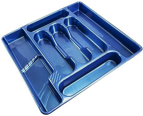 De plástico color azul 7 compartimento cajonera con divisiones para cubiertos organizador caja para bandeja