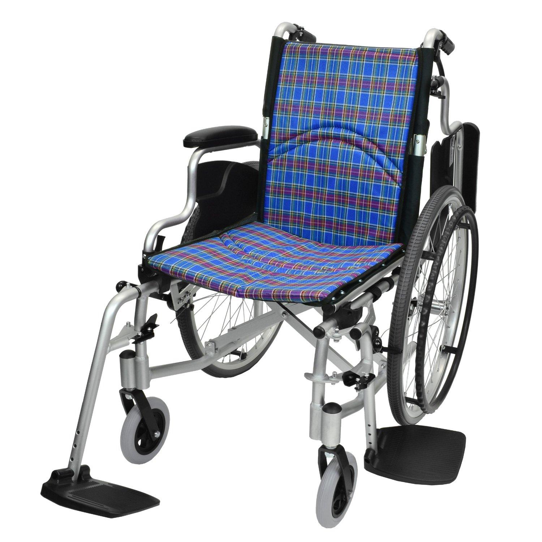ケアテックジャパン 自走式 アルミ製 折りたたみ 車椅子 コンフォート CAH-50SU (チェックブルー) B071YF1DFT チェックブルー チェックブルー