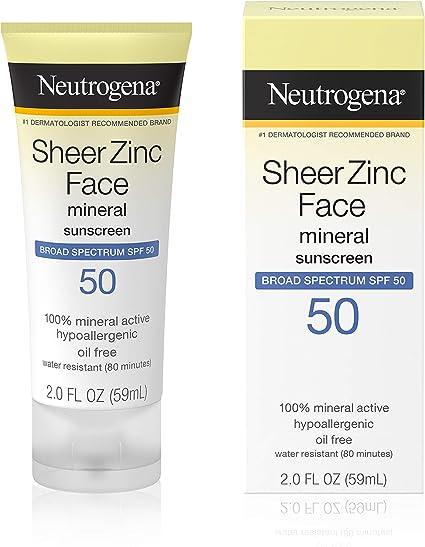 Protector solar facial Sheer Zinc de Neutrogena, amplio espectro ...