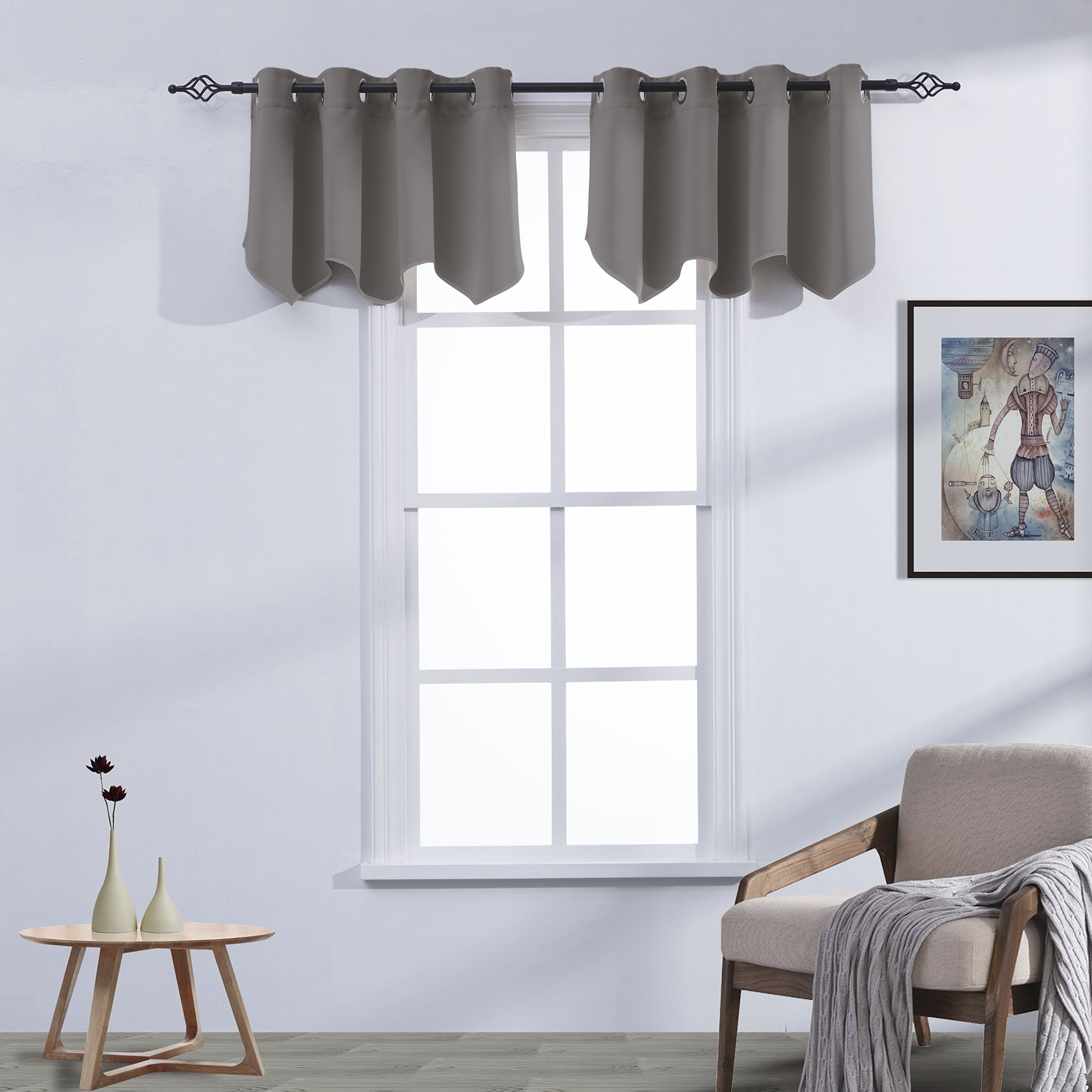 Aquazolax Window Scalloped Valances for Kitchen Thermal Insulated Solid Grommets Top Blackout Curtains Valances, 52 by 18-inch, Grey, 2 Panels