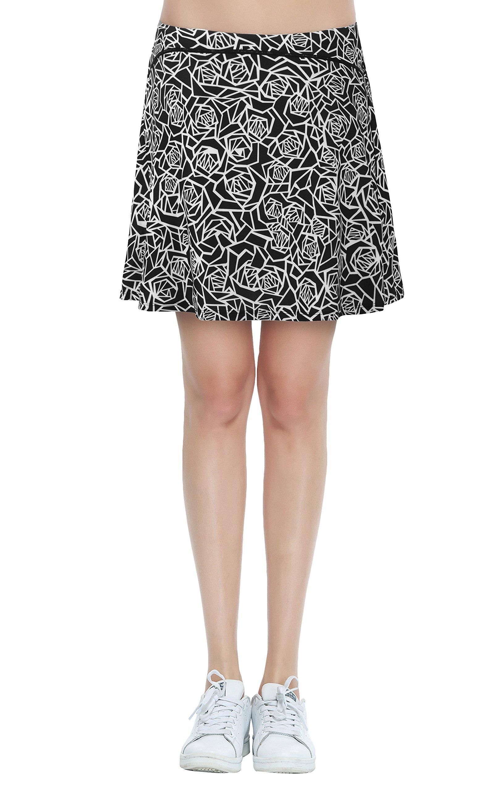 Women's Knee Length Workout Skirt Side Slit Sports Golf Skorts with Pockets(Flower Print,S)