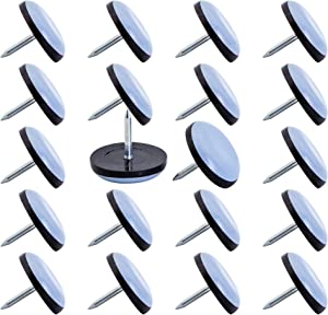 CSFMC Furniture Sliders,Table/Chair Glide,to Protect The Floor Round Nail On Sliding Disc 22mm(7/8 inchs) Base Diameter,20 PCS