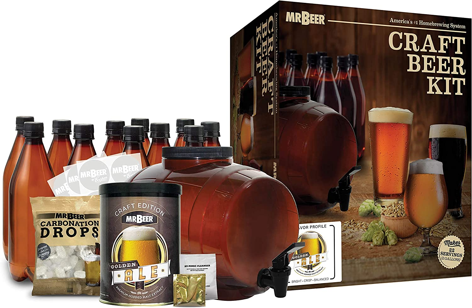 Mr. Beer 2 Gallon Complete Starter Beer Making Kit Perfect for Beginners