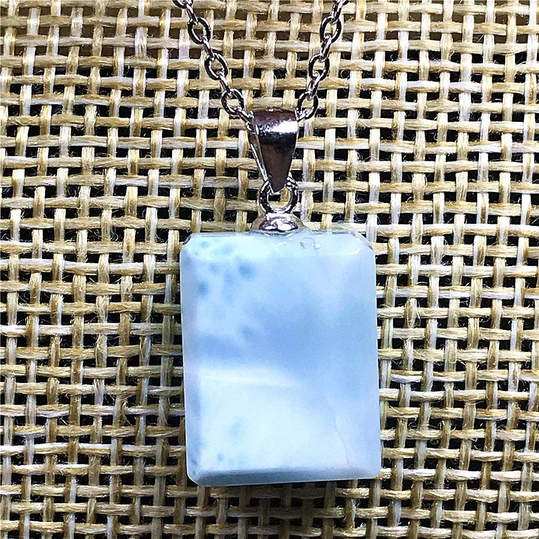 Larimar Pendant Necklace,Natural Blue Larimar Jewelry For Woman Man Dominica Crystal 14x11x5mm Rectangle Beads Silver Sterling Chains Water Pattern Stone AAAAA