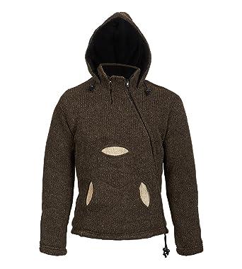 f1791fb03e57 Kunst und Magie Herren Kapuzen Pullover Strickjacke aus Schurwolle mit  Fleecefutter  Amazon.de  Bekleidung
