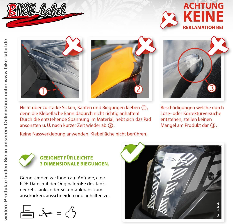 Tankpad 3D 500640 Carbonlook Carbon Braun Tank-Schutz f/ür Motorrad-Tank