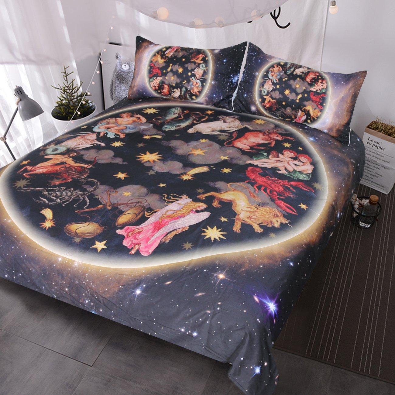 BlessLiving Galaxy Bedding 3 Pieces Animals Antique Asian Celestial Art Duvet Cover Set 3d Oriental Bedding Sets (Full)