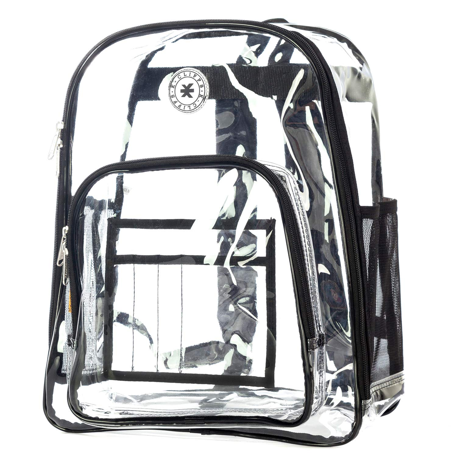 59a34d3c839 Amazon.com   Heavy Duty Clear Backpack Durable See Through Student School  Bookbag Quality Transparent Workbag Easy Stadium Security Check Bag Daypack  Black ...