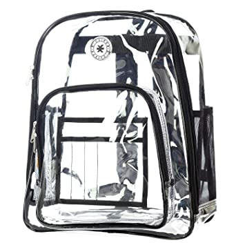 1254097d43f6 Amazon.com  Heavy Duty Clear Backpack Durable See Through Student School  Bookbag Quality Transparent Workbag Easy Stadium Security Check Bag Daypack  Black  ...
