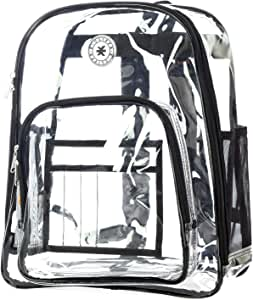 Heavy Duty Clear Backpack See Through PVC Stadium Security Transparent Workbag | Black