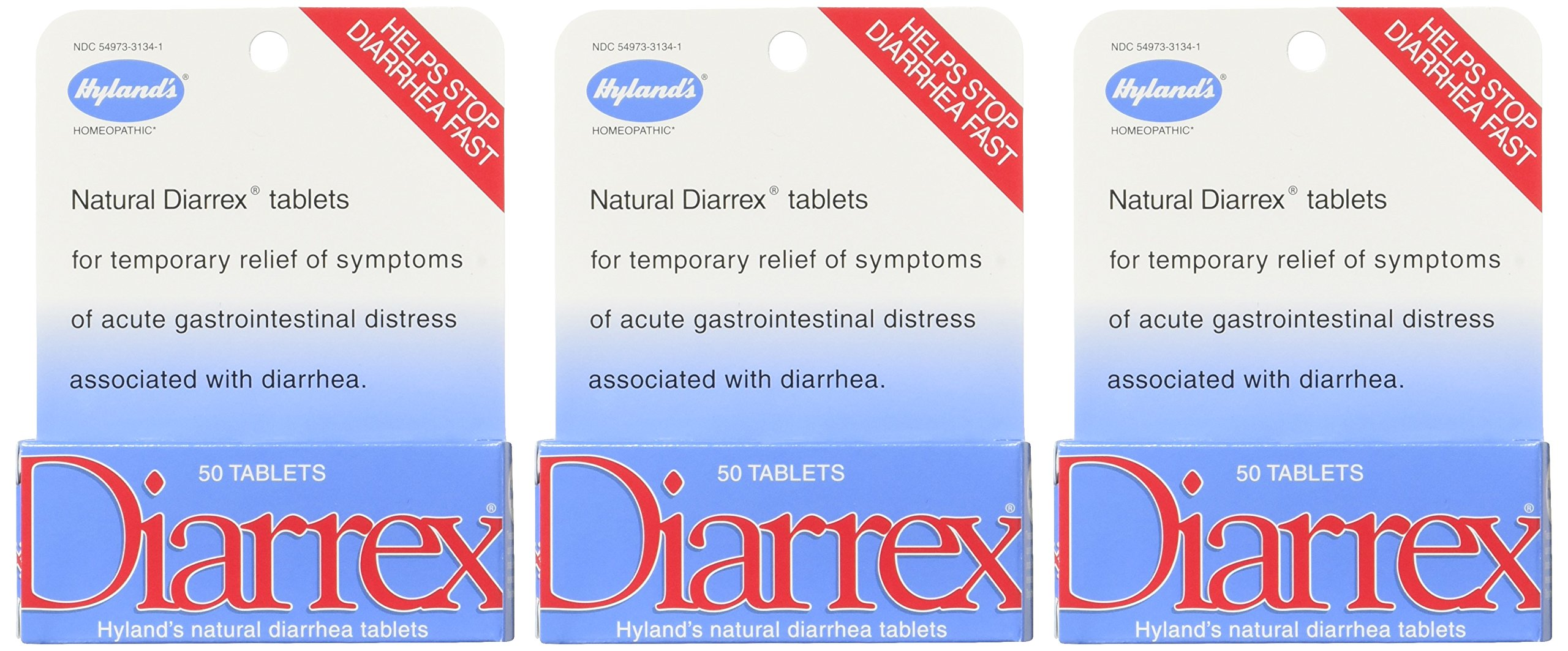 Hyland's Diarrex Tablets, Natural Relief of Diarrhea Symptoms, 50 Quick Dissolving Tablets (Pack of 3) by Hyland's Homeopathic