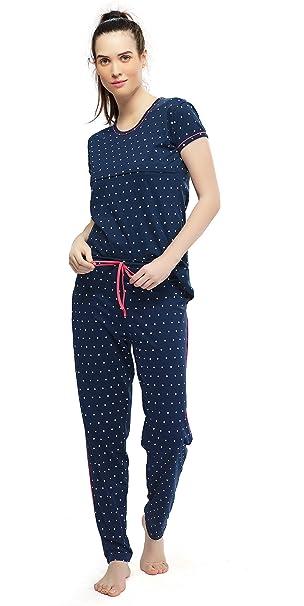 ec6b28ea455ef ZEYO Women's Cotton Navy Blue Feeding Night Suit,Polka Dot Print Nursing  Night Dress: Amazon.in: Clothing & Accessories