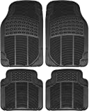 OxGord FMPV01A-BK Front & Rear, Driver & Passenger Seat Ridged Heavy Duty Rubber Floor Mats for Cars, SUVs, Vans & Trucks, Black, Pack of 4