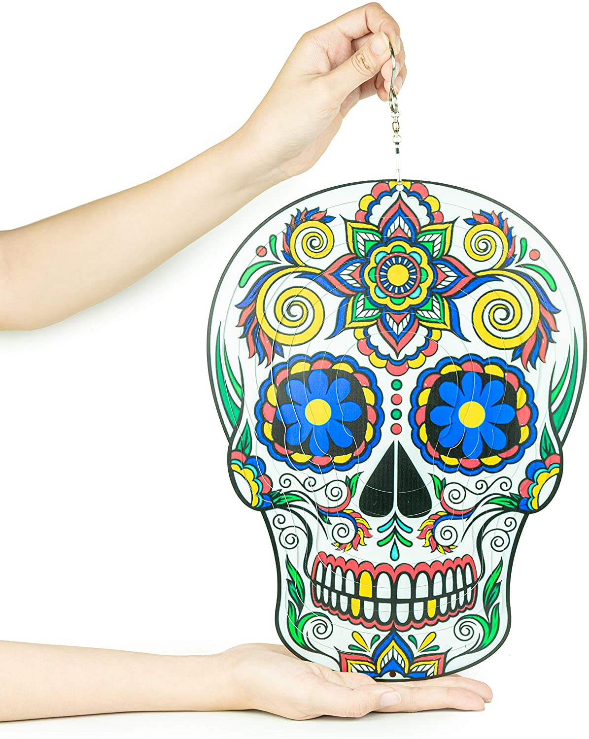 EchipTools Sugar Skull Wind Spinner Outdoor Metal Decorations 3D 12inch Quality Hanging Ornament for Home and Garden Décor - Mandala Silver Wind Spinners - Calavera Sugar Skull Decorations